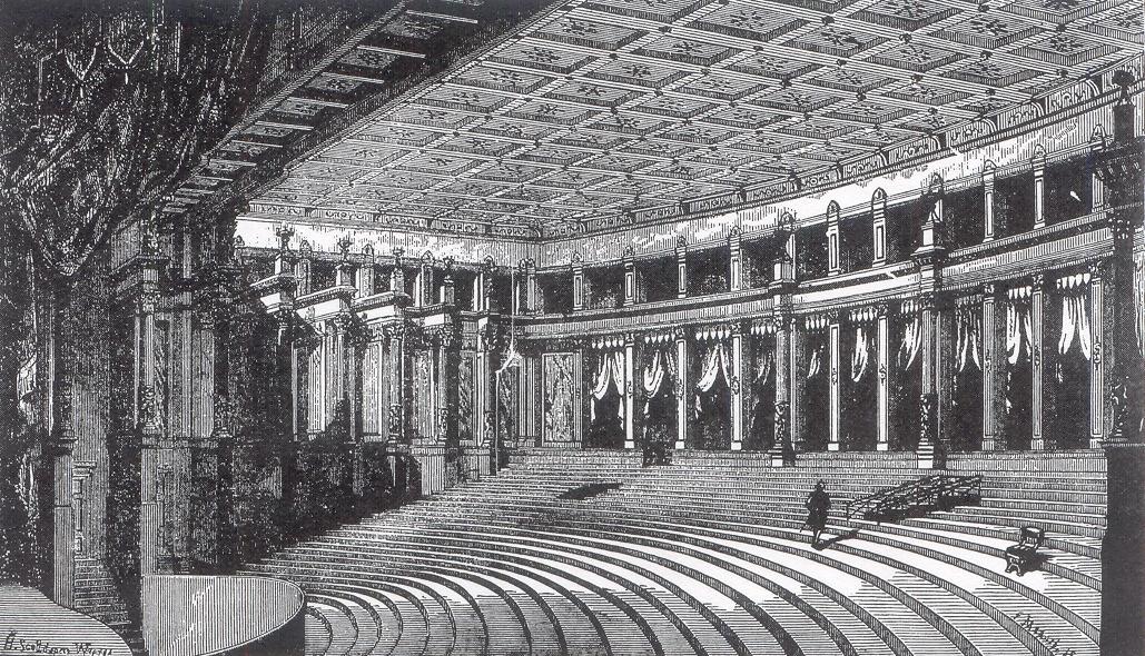 Le Festspielhaus de Bayreuth où, pour la première fois, les spectateurs sont plongés dans le noir.