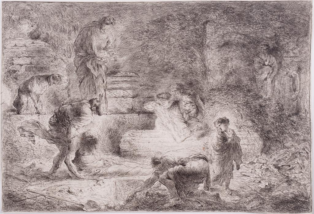 La lumière des eaux-fortes commence où le trait s'arrête. Giovanni Benedetto Castiglione, Tobie faisant ensevelir les morts.