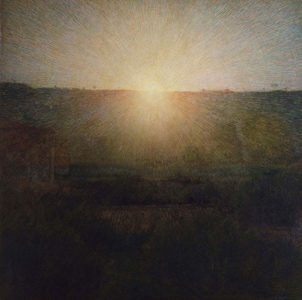 L'aurore : une ruse de peintre pour figurer l'infigurable. Giuseppe Pelizza da Volpedo, Il sole, 1904.