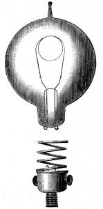 La première lampe à filament de coton commercialisée par Joseph Swan en 1879.