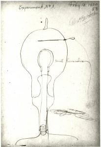 Dessin de Thomas Edison pour l'une de ses premières lampes à incandescence.