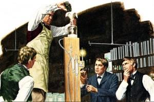 Thomas Edison, dans son laboratoire de Menlo Park en 1879, utilise une trompe à mercure pour effectuer le vide dans une lampe.